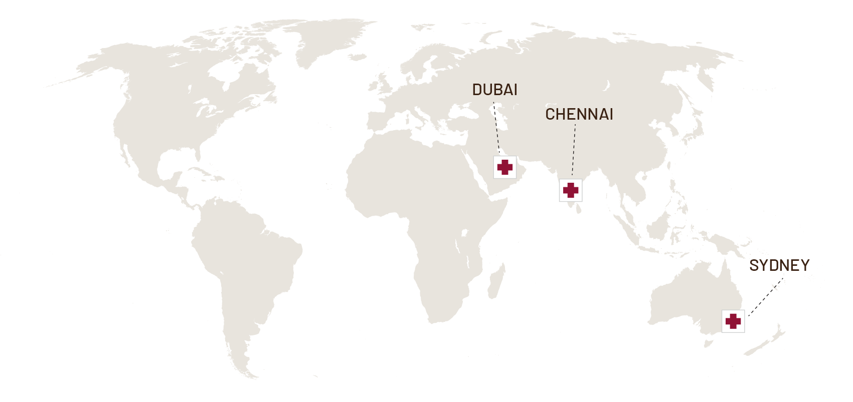 Map of the world Synapse in Dubai Chennai and Sydney