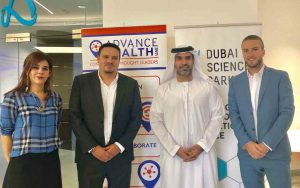 The agreement was signed by Marwan Abdulaziz Janahi Managing Director of DSP Sahar Samara Managing Director of OPEN Health Dubai Thom Soutter Business Development Director at Synapse Medical Services and Marcus Corander Managing Director of Connect Communications