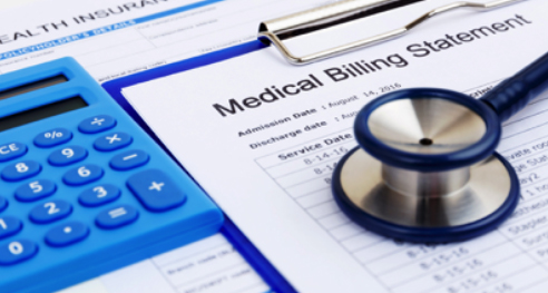 Medical billing statement with stethoscope and calculator